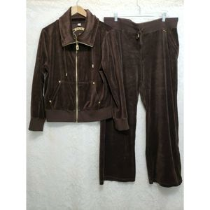Michael Kors Womans XL Brown Velour Jacket & Pants